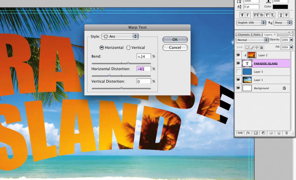 text warp tool photoshop