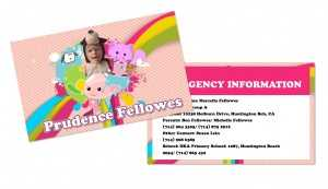 Emergency contact business card I created for my daughter