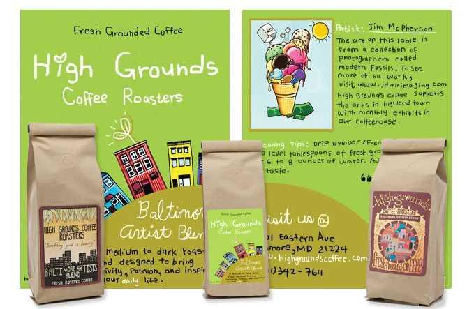 High Grounds - Coffee label illustration design