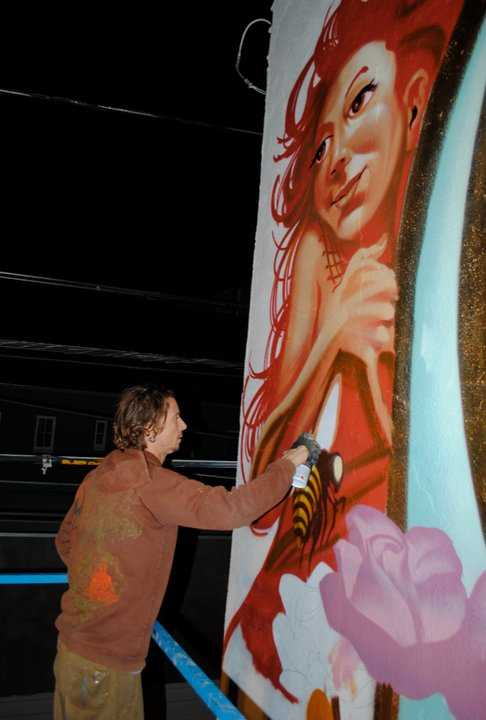 Mear One creating one of his street art masterpieces