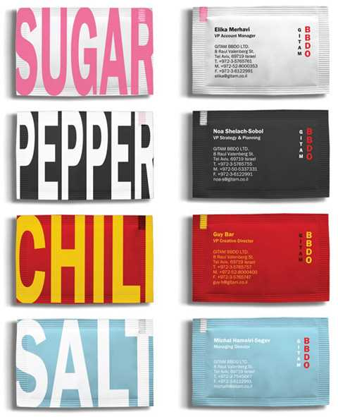 sugar sachet business cards