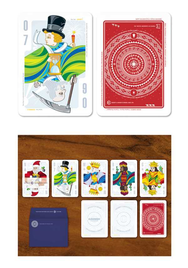 Superb design and even better concept from designer Manuel Olmo-Rodriguez. These Christmas Playing Cards depict characters from holiday festivities. (it would be really easy to do something similar with rounded corner business cards)