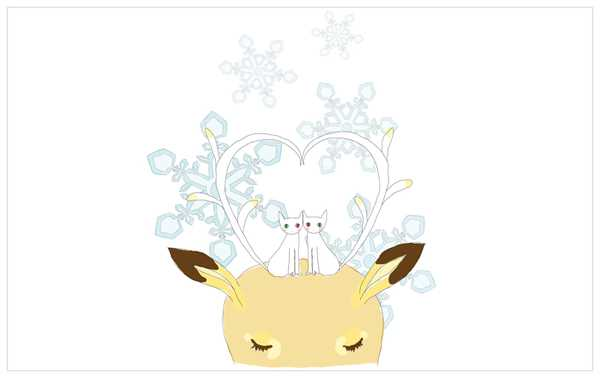 Reindeers and kitty's and snowdrops and Aaaaah!!! (lovely illiustration)