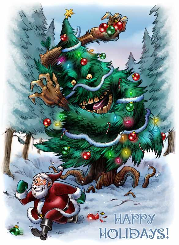 It's that old favorite Christmas tale of Good old Saint Nick getting chased by a man-eating-Christmas-Tree (by