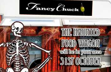 Good use of business cards this Halloween for Food Wagon