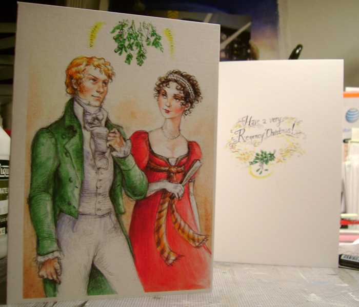 """Mr. Darcy! I find it most presumptious of you to believe that I will surrender to your affections beneath this most barbarous of Yultide adornments!"" (Regency period cards - beautifully illustrated by Joanne Renaud)"