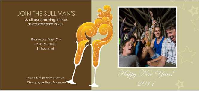 A photo flat card that's perfect for invitations to New Years Party's