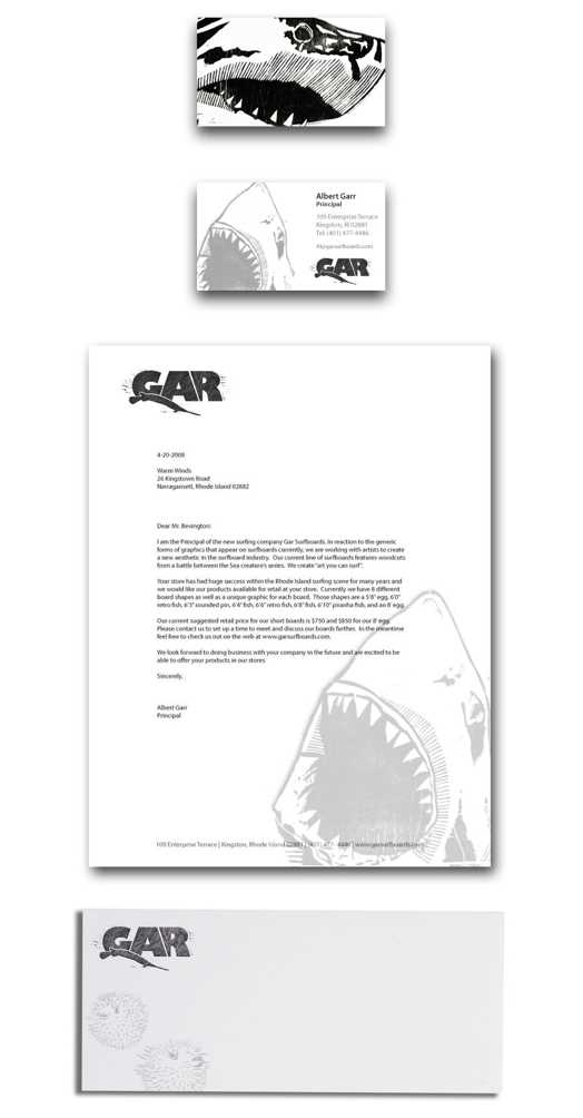 Garr Surfboards black and white stationery with simple layout and excellent snappy shark design