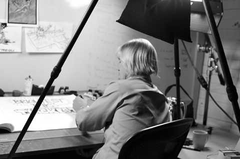 Jamie Johnson sets to work creating the sketches for the video