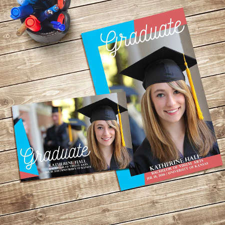 Graduation postcard invitations