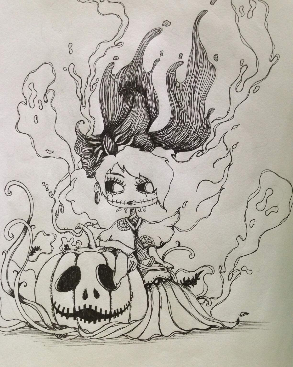 Pumpkin ink drawing