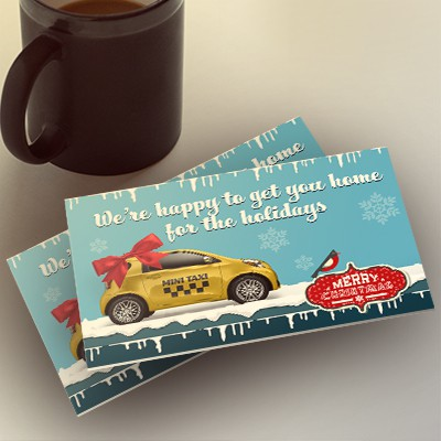 Holiday marketing postcard