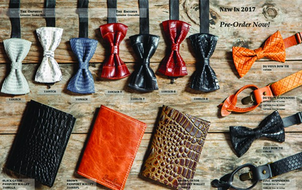 Jean Lorent leather men's bow ties, belts and wallets