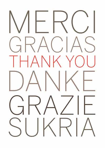 Foreign languages corporate thank you card