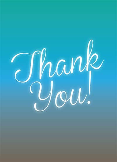Two-toned blue glow corporate thank you postcard