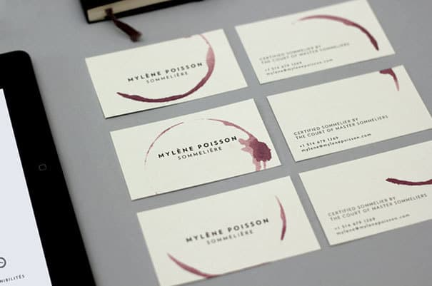 Sommeliere wine glass stamped business card