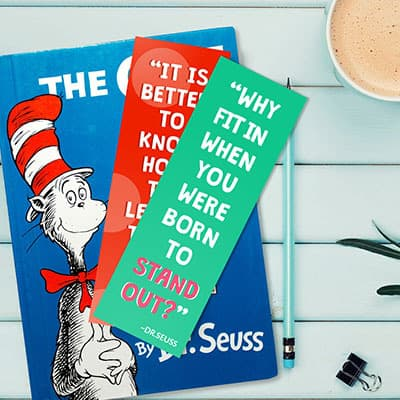 Dr Seuss motivational bookmarks