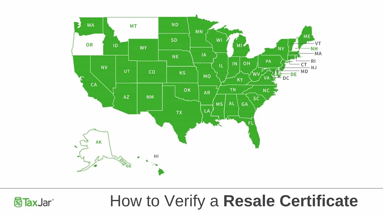 Map of US states with resale certificate