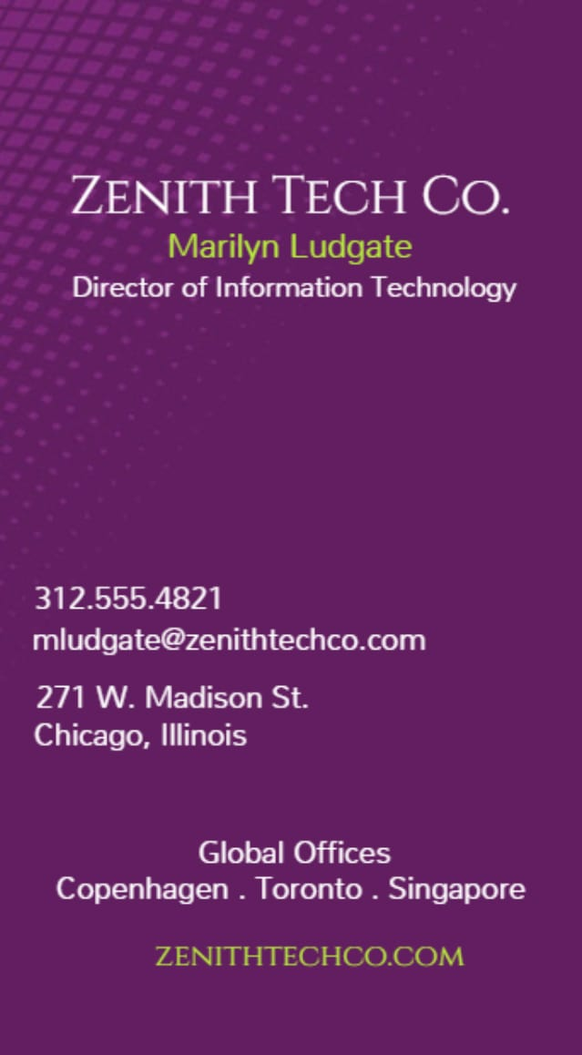 Spot UV vertical business card