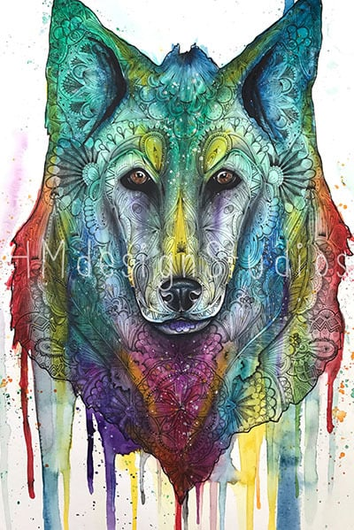 Watercolor wolf painting
