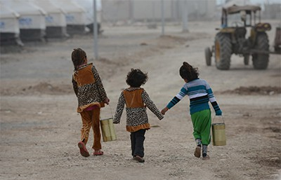 Young refugee girls
