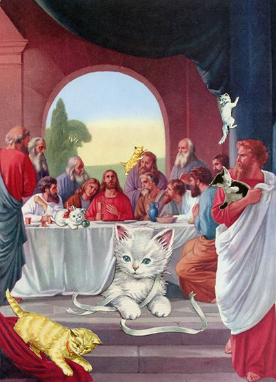 The Last Supper image with cats