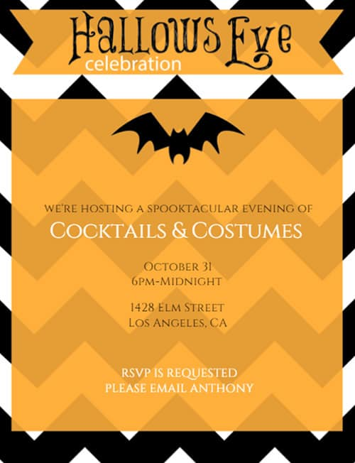 Chevron All Hallows Eve Party Invitation