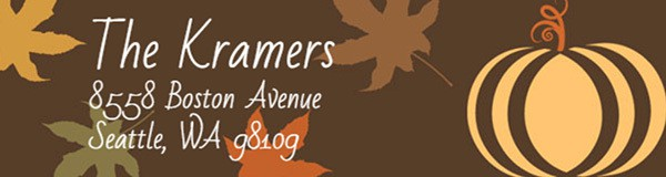 Fall Pumpkins Hallowen Address Labels
