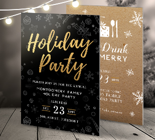 Holiday postcard invitations