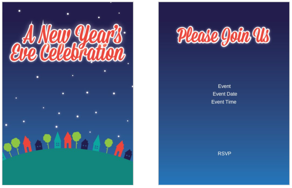 Block Party New Years Eve Celebration 5x7 postcard party invitation template