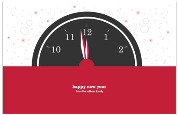 Coundown Clock New Years Eve Party 5.5x8.5 greeting card template