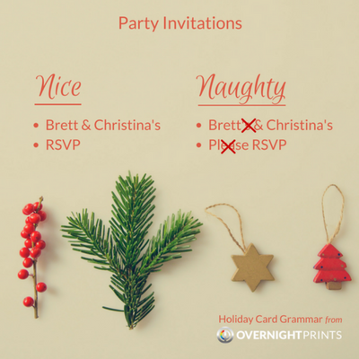Holiday Card Grammar - Party invitations