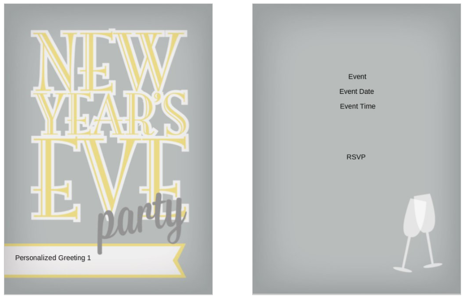 Neon New Years Eve Party 5x7 postcard invitation template