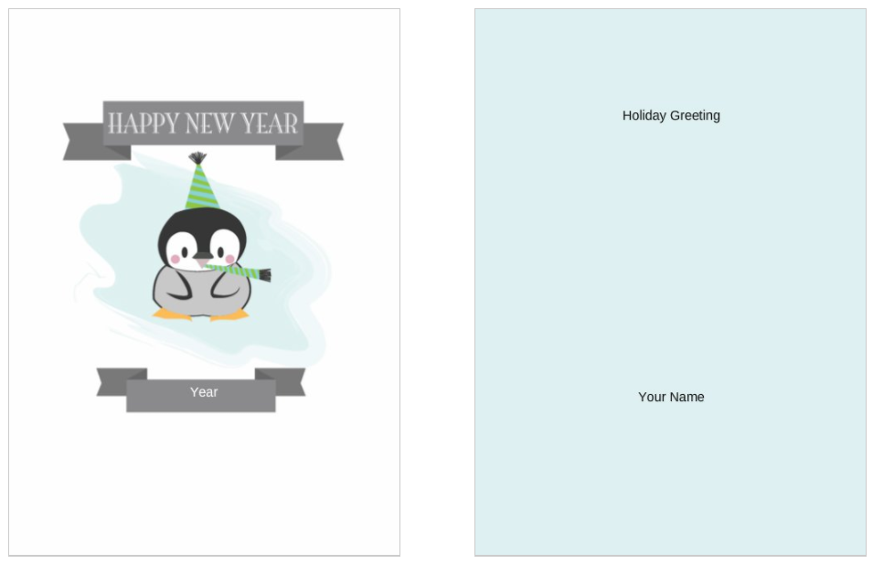 Silly Chilly New Years 5x7 postcard party invitation template