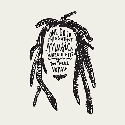 Hand lettered Bob Marley portraiture by Katie King Rumford