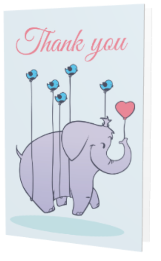 Cartoon elephant Thank You greeting card