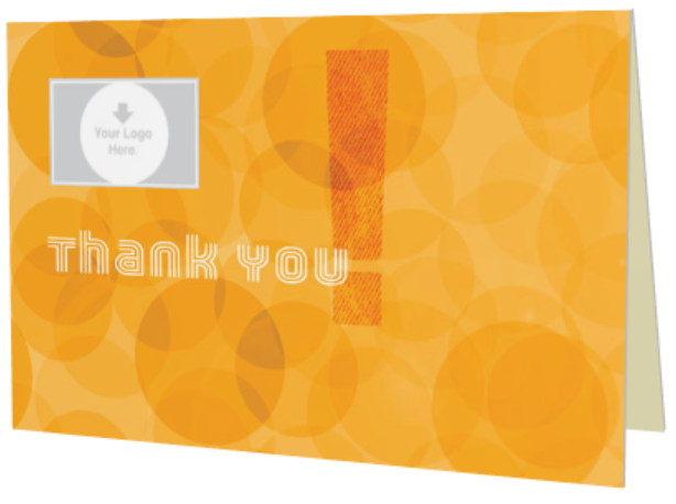 Orange circles Thank You greeting card
