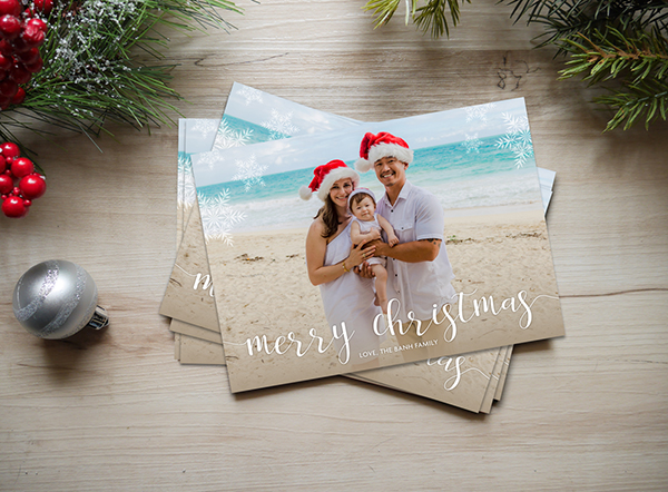 Family portrait holiday postcard
