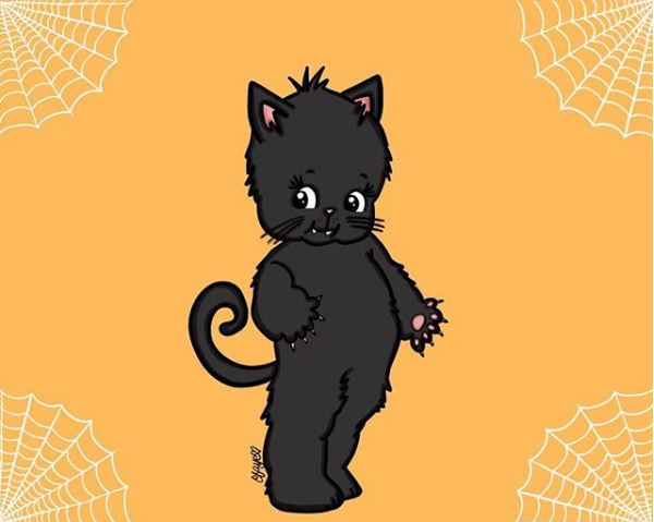 Casey Faye's Kitty Kewpie Cat Drawing submission for Overnight Prints' #SpookMeONP's Halloween Contest