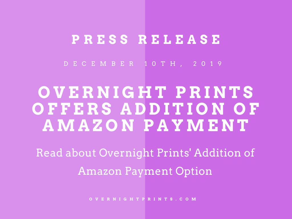 Overnight Prints Announces Addition of Amazon Pay